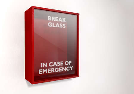 An empty red emergency box with an in case of emergency breakable glass on the front on an isolated background