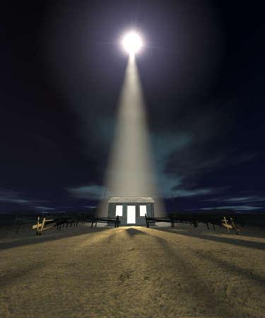 pesebre: Una escena de la natividad de cristos nacimiento en Bel�n con la carrera aislado por ser estable iluminada por una estrella brillante sobre un fondo de cielo azul oscuro