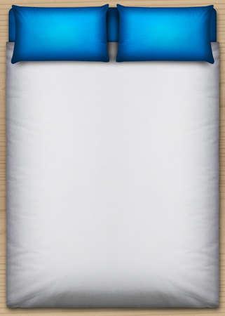 cama: Una vista superior directa desde arriba una cama perfectamente ordenado, con un edred�n blanco y dos almohadas azules sobre un suelo de madera