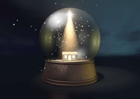A regular snow globe depicting a shining star and the nativity stable in bethlehem on a blue starry sky background Stock Photo - 21639124