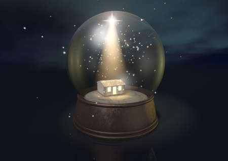 A regular snow globe depicting a shining star and the nativity stable in bethlehem on a blue starry sky background photo