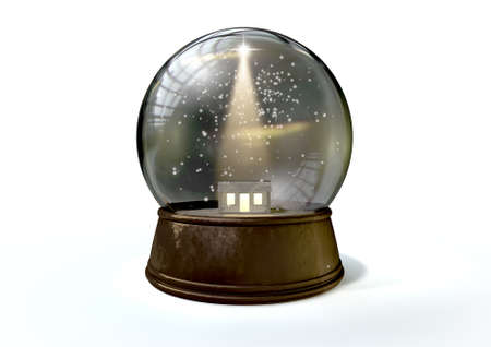 A regular snow globe depicting a shining star and the nativity stable in bethlehem on an isolated white background