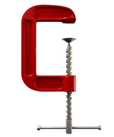 An open red clamp tool on an isolated studio background