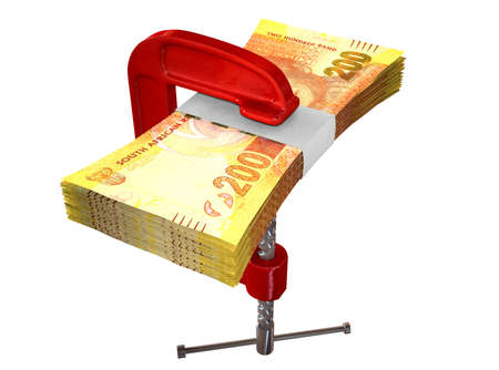 clamped: A red clamp clamping down on a bundle of two hundred rand notes on an isolated studio background