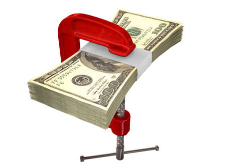 vice grip: A red clamp clamping down on a bundle of one hundred dollar bills on an isolated studio background Stock Photo