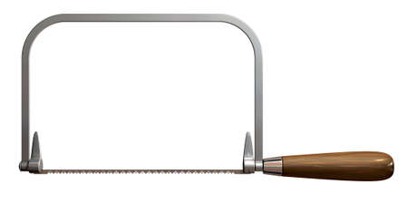 coping: A side view of a regular metal coping saw with a wooden handle on an isolated white studio background