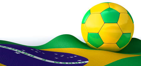 A regular stitched panel soccer ball in the iconic brazilian colors photo