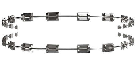 teeth braces: A set of assembled metal braces used for orthodontic teeth straightening on an isolated white background