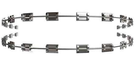 ortodoncia: Un conjunto de aparatos met�licos ensamblados utilizados para los dientes de ortodoncia enderezan sobre un fondo blanco aislado Foto de archivo