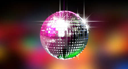 mirrorball: A colorful reflective disco ball with glinting highlights on a blurry colored background Stock Photo