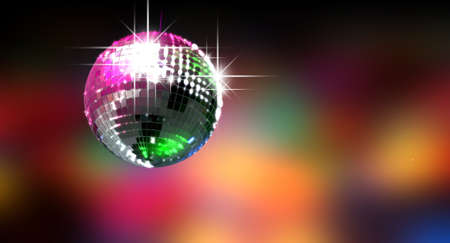 A colorful reflective disco ball with glinting highlights on a blurry colored background Stock Photo