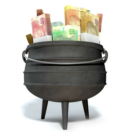 pot money: A regular cast iron south african potjie pot with a steel handle filled with bundles of south african rand notes on an isolated background Stock Photo