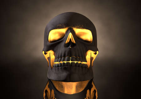 alarming: A front view of a dark human skull with glowing orange insides on adark eerie background