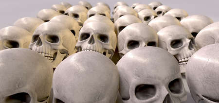 A haunting perspective view of collection of human skulls signifying a massacre of sorts photo