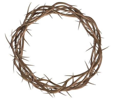 Een bovenaanzicht van takken van doornen geweven in een kroon die de kruisiging op een geïsoleerde achtergrond