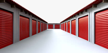 A perspective view of a row of storage rooms with closed red roller doors on an isolated white background