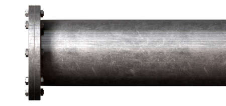 A metal pipe with a blank flange shutting off the end on an isolated studio background