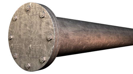shutting: A metal pipe with a blank flange shutting off the end on an isolated studio background