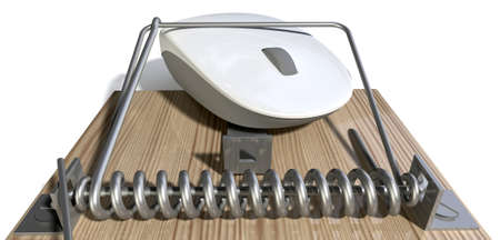 A regular wood and metal mousetrap with a white computer mouse trapped in it on an isolated background Stock Photo - 22426862