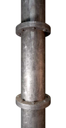 flanges: A metal pipe with joins and flanges with bolts on an isolated background Stock Photo