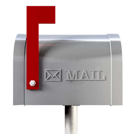 An side view of an old school retro tin mailbox with a red flag pointing upward  Stock Photo - 22426867