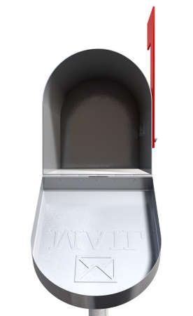 An front view of an open empty old school retro tin mailbox with an embossed mail envelope sign on an isolated background Stock Photo - 22426868