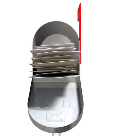 An front view of an open old school retro tin mailbox bulging with a pile of letters on an isolated background Stock Photo - 22426869
