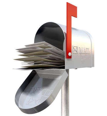 mails: An perspective view of an open old school retro tin mailbox bulging with a pile of letters on an isolated background Stock Photo