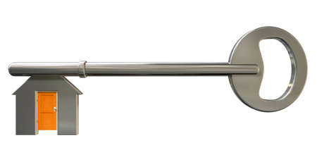 hinges: A front view of a concept metal key with the teeth resembling a house icon with a shut orange door
