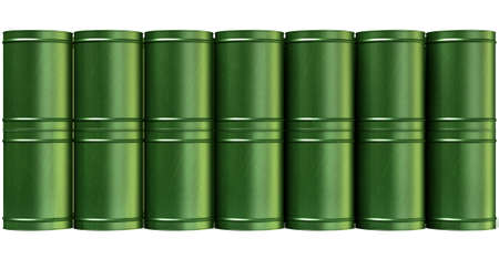 A stack of green metal barrels on an isolated white background Stock Photo - 22573456