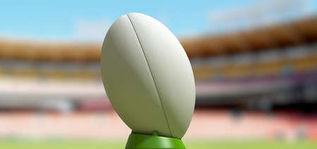 uprights: A plain white textured rugby ball on a green kicking tee in a stadium