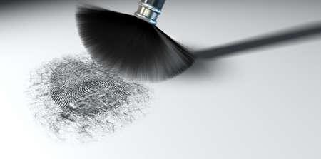 finger proof: A crime scene brush dusting black talcum powder revealing and a fingerprint mark   Stock Photo