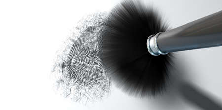 dusting: A crime scene brush dusting black talcum powder revealing and a fingerprint mark   Stock Photo