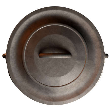 A top vew of an open and empty regular cast iron south african potjie pot with a steel handle on an isolated background