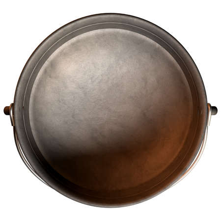 A top vew of a regular cast iron south african potjie pot with a steel handle and a lid on an isolated background