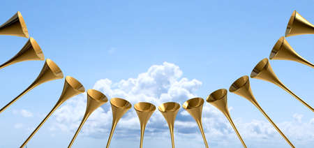 heavenly light: A group of golden medieval trumpets in a circular arc proclaiming a special heavenly occasion on light blue cloudy sky background Stock Photo