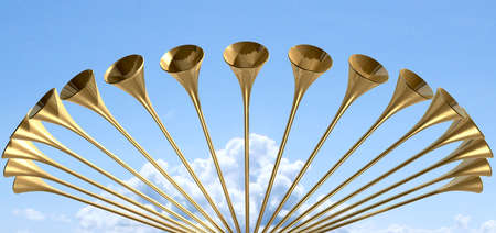 blare: A group of golden medieval trumpets in a circular arc proclaiming a special heavenly occasion on light blue cloudy sky background Stock Photo