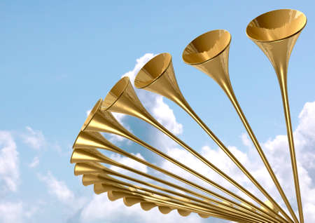 glorious: A group of golden medieval trumpets in a circular arc proclaiming a special heavenly occasion on light blue cloudy sky background Stock Photo