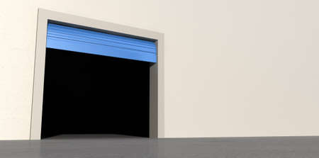 A perspective view of an empty storage room with an open blue roller door on an isolated white wall background Stock Photo - 22710617