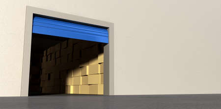 A perspective view of a storage room with an open blue roller door filled with stacks of cardboard boxes on an isolated white wall background Stock Photo - 22710619