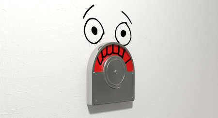infuriate: A restroom door mechanism defaced with a drawn face indicating red for occupied and showing frustration on an isolated white textured  Stock Photo