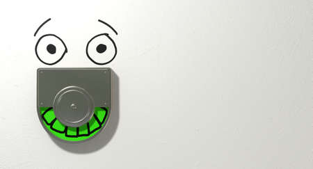 relieved: A restroom door mechanism defaced with a drawn face indicating green for vacant and showing relief on an isolated white textured