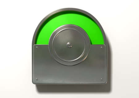 A regular public restroom metal door mechanism indicating green for vacant on an isolated white textured background photo