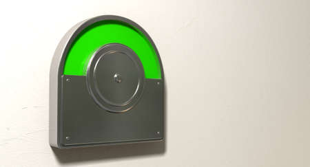 vacant: A regular public restroom metal door mechanism indicating green for vacant on an isolated white textured