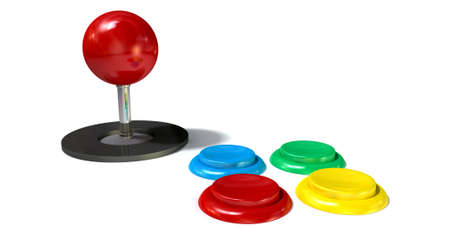 ARCADE GAMES: A vintage computer game controller with a joystick and four various colored buttons on an isolated white  Stock Photo