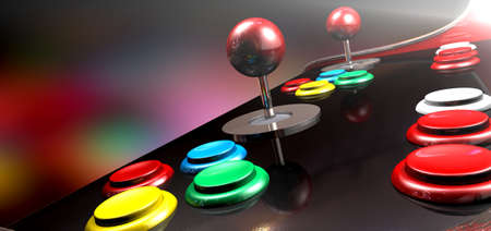 A  vintage computer game control pad with a joystick and four various colored buttons on a reflective black surface photo
