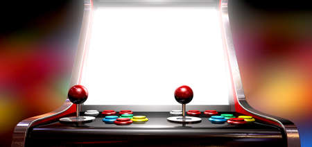 arcade games: A vintage arcade game machine with colorful controllers and a bright illuminated screen on a bright arcade background