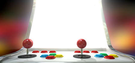 console: A vintage arcade game machine with colorful controllers and a bright illuminated screen on a bright arcade background