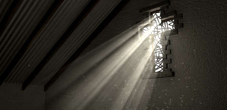 catholism: An interior building with a patterned stained glass window in the shape of a crucifix with a spotlight shining lights rays through it