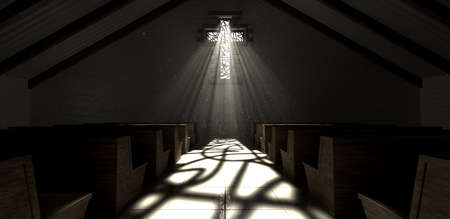 An old church interior with a stained glass window in the shape of a crucifix with a spotlight rays penetrating through it reflecting the image on the floor Stock Photo - 23380527